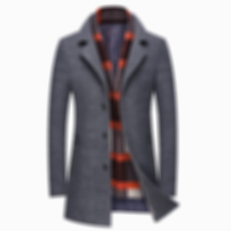 Mens Wool Detachable Plaid Scarf Collar Thicken Business Casual Mid Long Overcoats