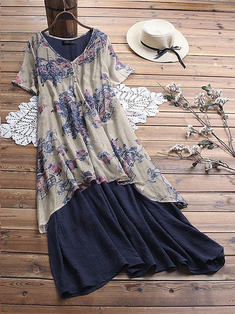Women's Two-piece Cotton and Linen Printed Dress
