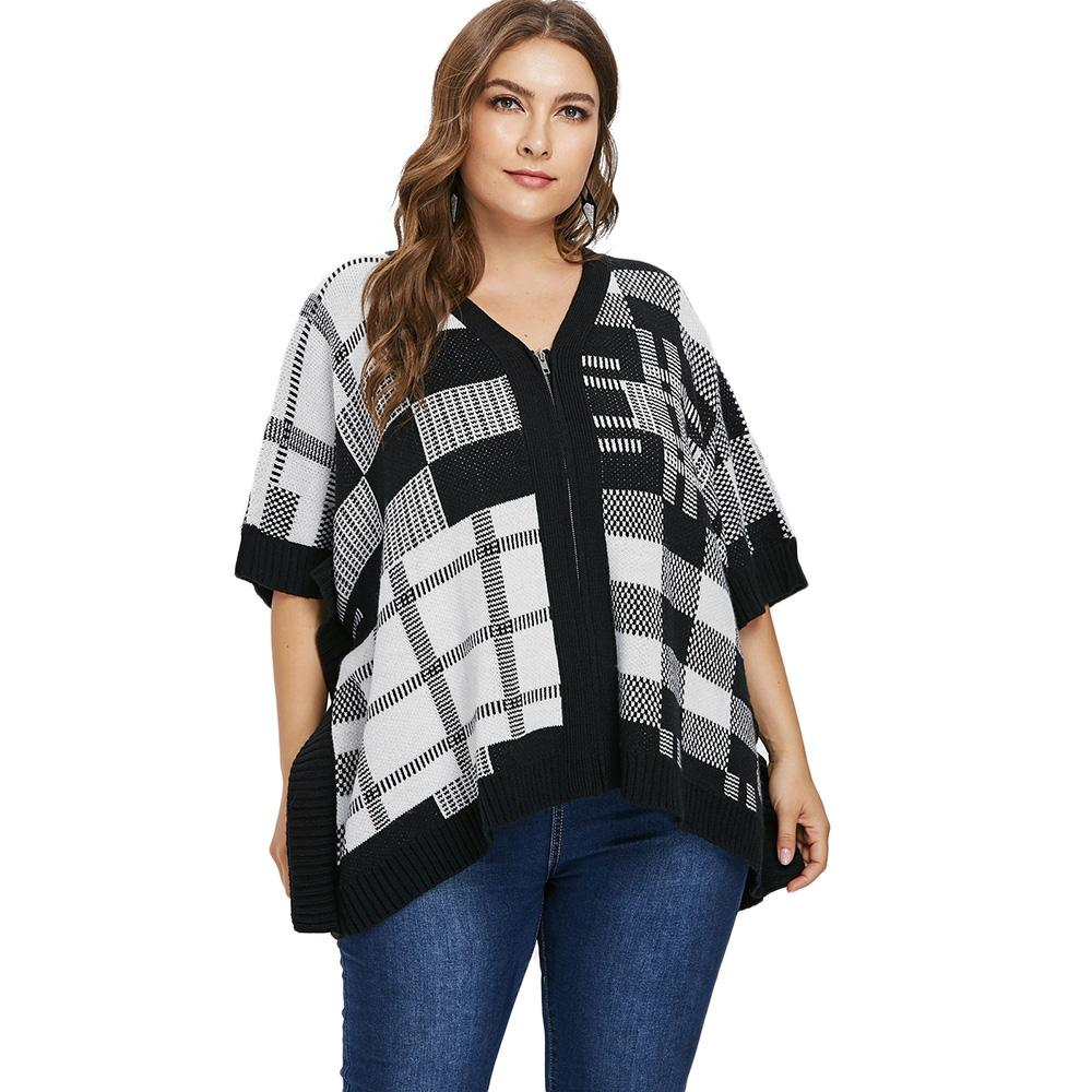 Checked Plus Size Full Zip Sweater Coat