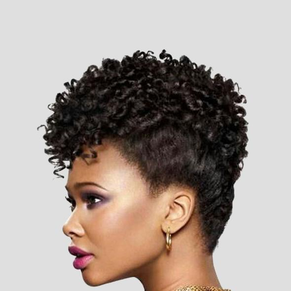 Luna C24 Spiral Short Afro Curly Wig with Bangs for Women