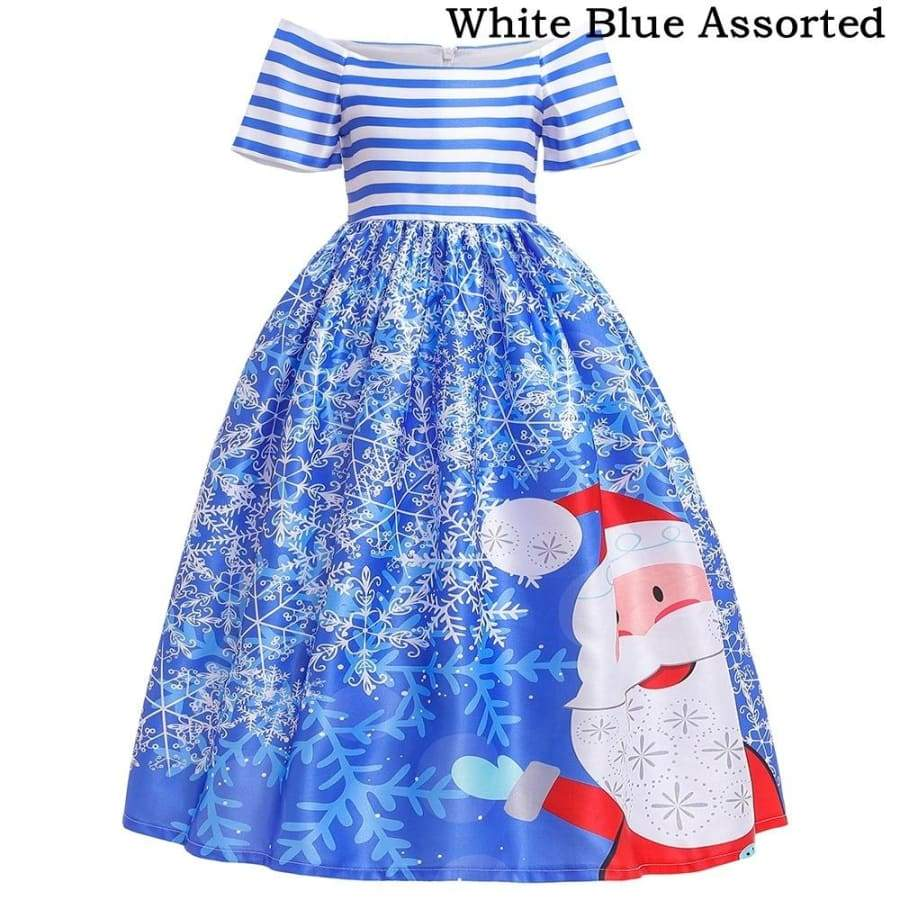 Children Girl Christmas Dress Cartoon Santa Snowflake Princess Dress for Teenager