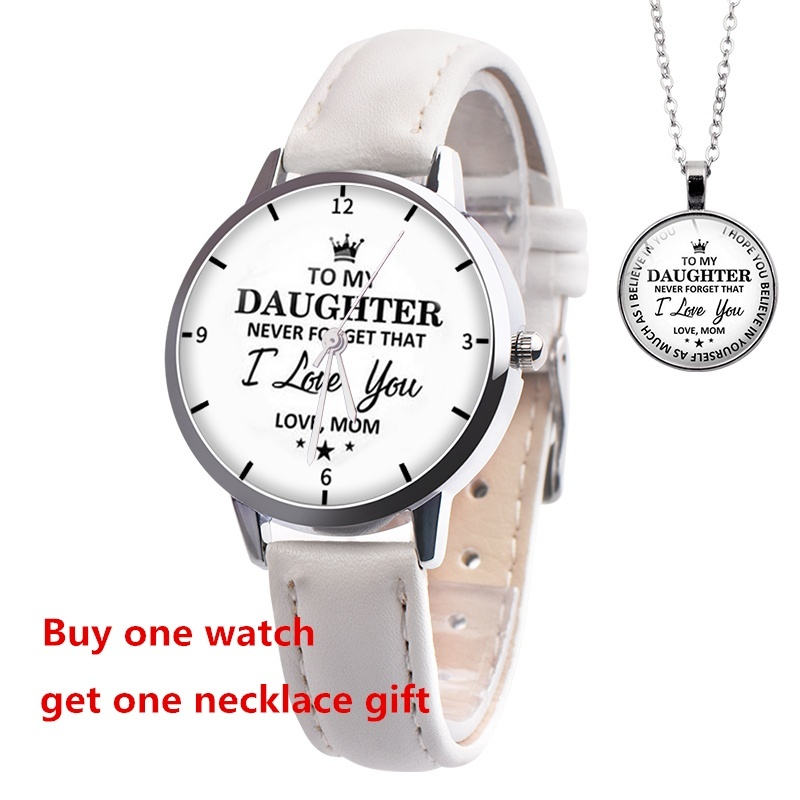 Fashion classic to my daughter love mom Princess Girl watches Children Kids Wrist watches gemstone pendant necklace Christmas gift(no box)