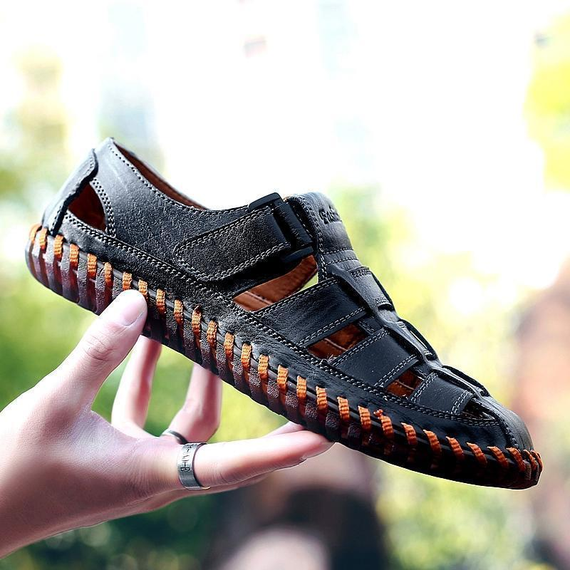 Men's Leather Sandals With Closed Toe Handmade Casual For Summer