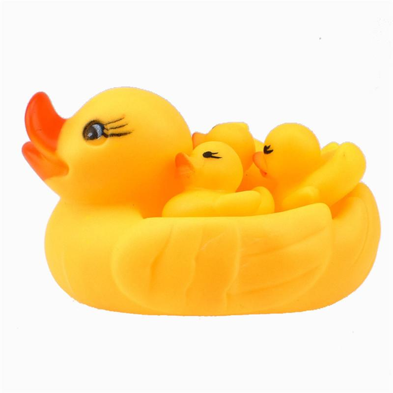 Inflatable Yellow Duck with Three Duck Kids Set Swimming Bathing Toys