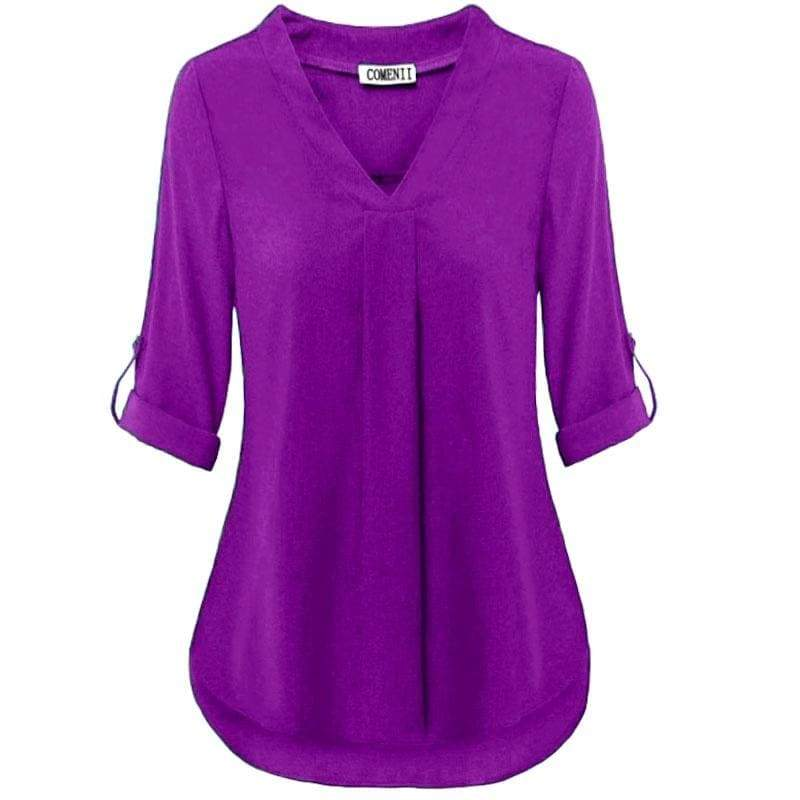 XS-8XL Plus Size Fashion Autumn and Winter Clothes Women Deep V-neck T-shirts Long Sleeve Chiffon Blouses Ladies Casual Curved Sleeves Solid Color Loose Shirts