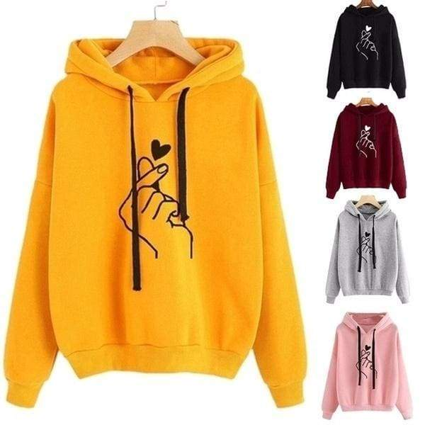2020 New Fashion Women's Hooded Sweater Casual Printed Finger Heart Long Sleeve Solid Color Loose Tops Hoodies Coat
