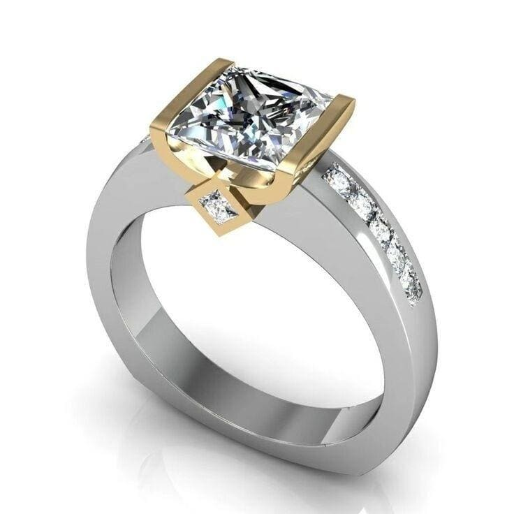 Fashion Women's Modern Two-tone Diamond Jewelry 925 Sterling Silver 14K Gold White Sapphire Diamond Ring Ms. Engagement Wedding Ring Anniversary Gift Party Jewelry Size US5-11