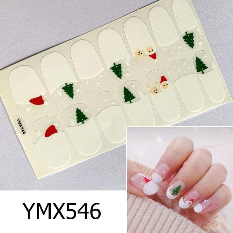 1PC(Included 14 Small Stickers)Nail Patch Nail Polish Sticker DIY Waterproof Nail Wraps Christmas Santa Claus Elk Nail Ornament Nail Patch for Women(YMX534-562)