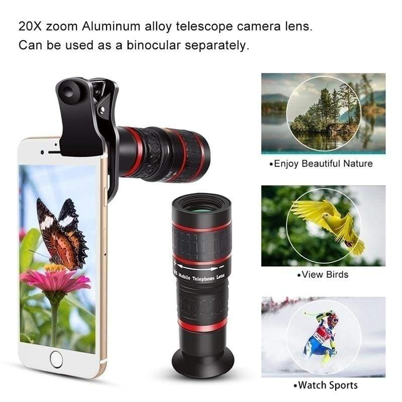 12X / 20X Universal Telescope Lens Mobile Phone Zoom Camera Telephoto Optical Telescope Universal Smartphone Accessories