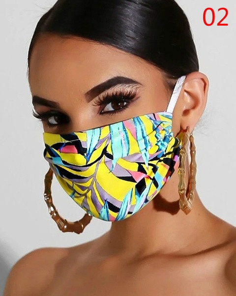 2020 Fashion Floral Print Breathable Cotton Mask Proof Dust Anti Pollution Washable Mouth Half Face Mask