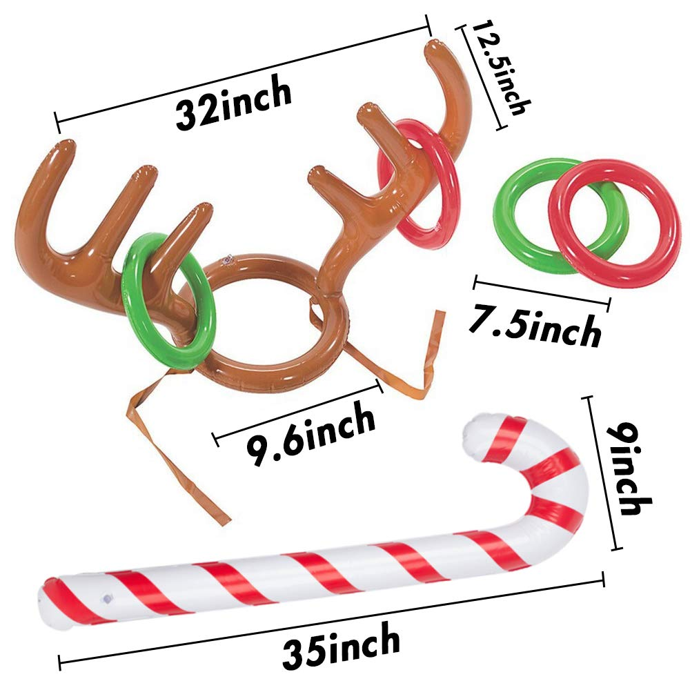 Christmas Inflatable Reindeer Antler Ring Toss Antlers Game for Christmas Holiday Party Game Photo Props Tools
