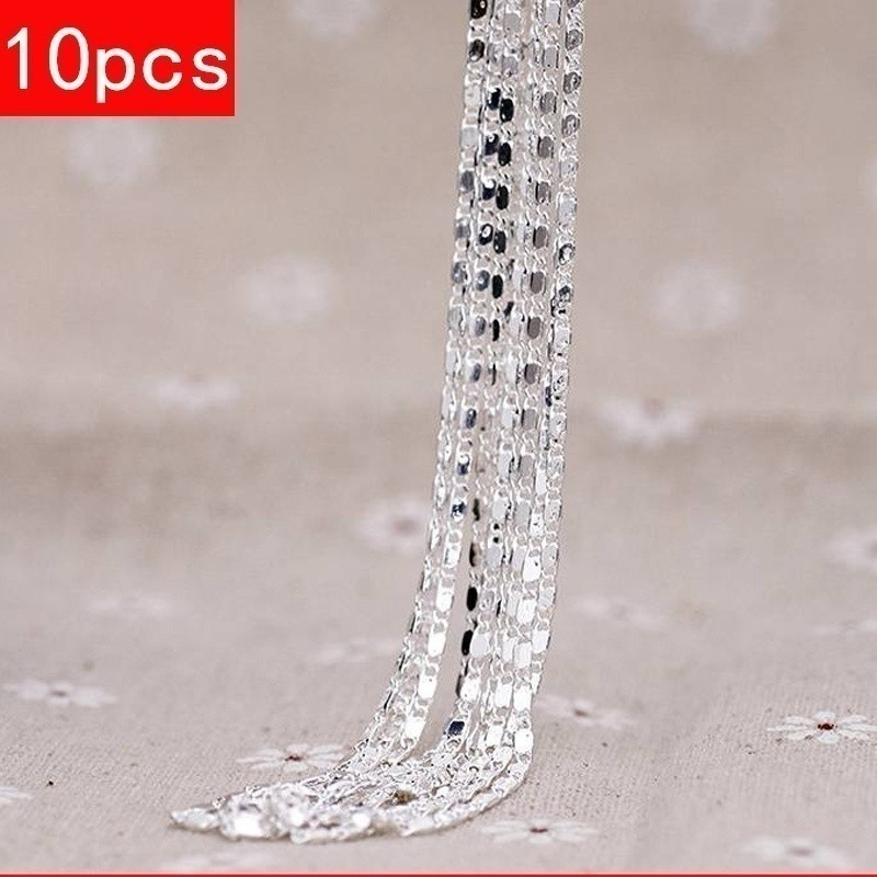 5PCS/10PCS 925 Sterling Silver Necklace Chains 18-30 inches