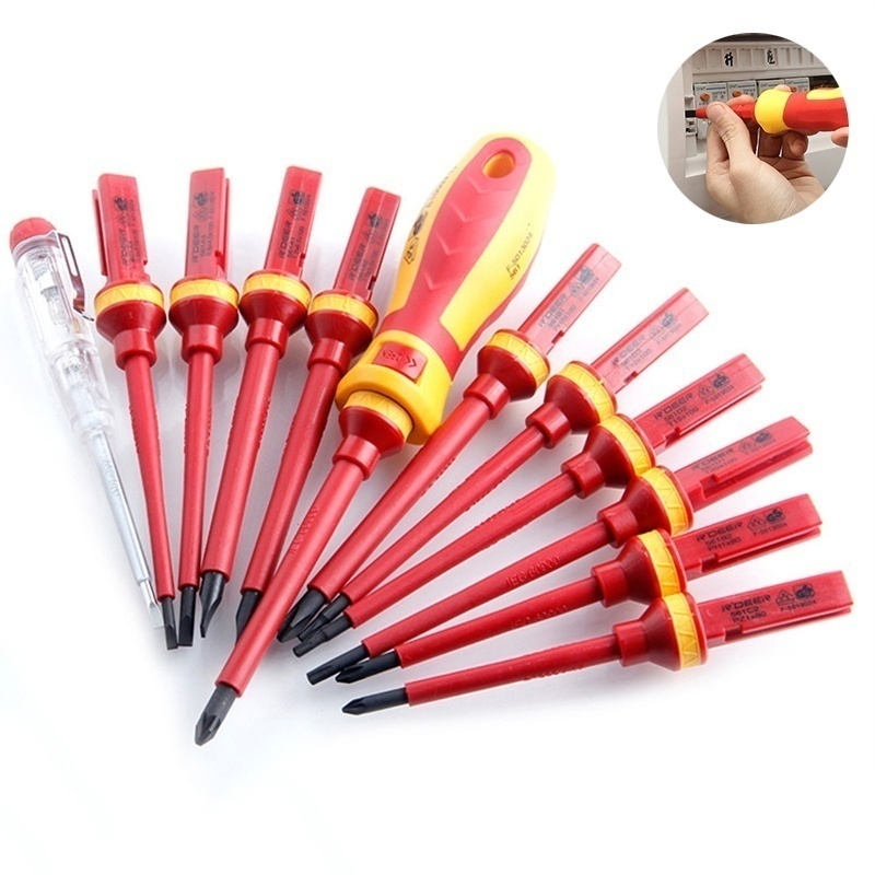 13Pcs Insulated Screwdrivers Kit Magnetic Slotted Pozidriv Torx Bits Combination Repair Electrician Tools