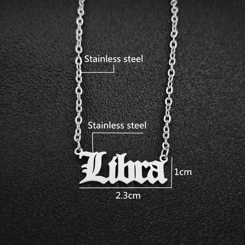 12 constellations Pendant Necklace Old English Signs Necklace