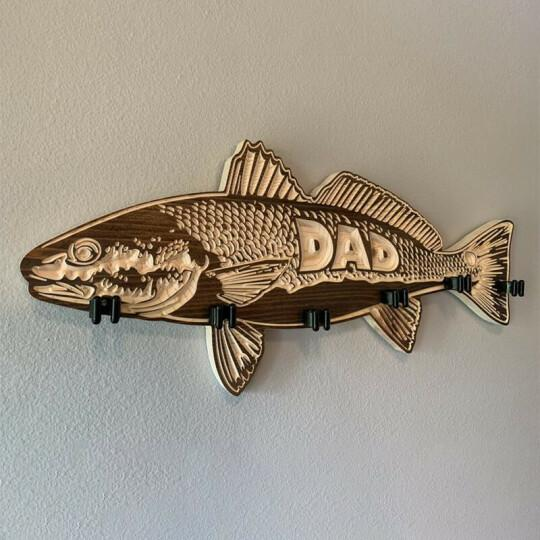 Father's Day Gift🎁wood large mouth bass fishing rod holder