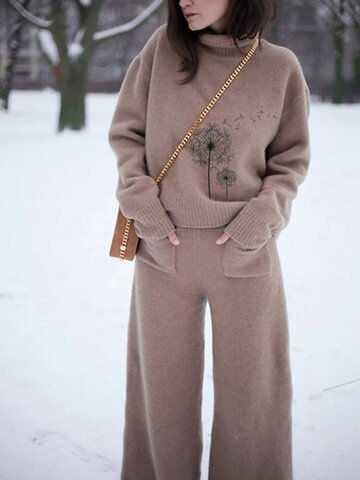 Sweater Set Loose Warm Two-Piece Suit