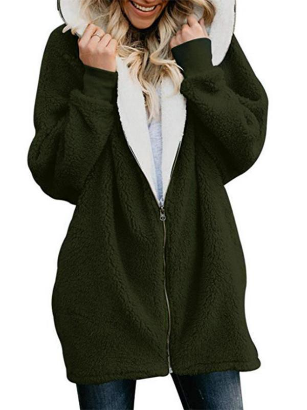 Autumn and winter lamb wool zipper warm jacket