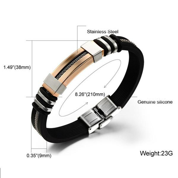Mens Bracelets Black Stainless Steel Silicone Bracelets Charm Bracelet Male Bangle For Men Jewelry Silver & Rose Gold Color
