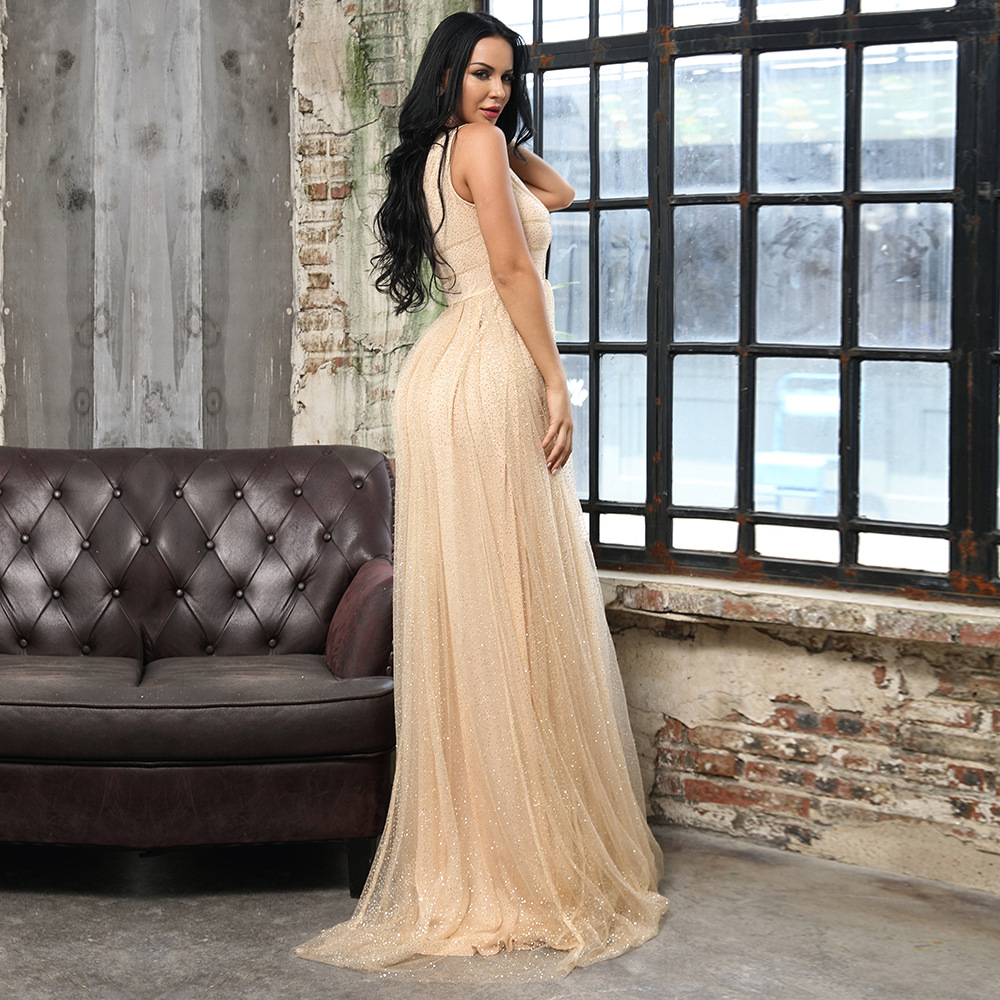Sexy deep V hollow mesh sequin party evening party dress