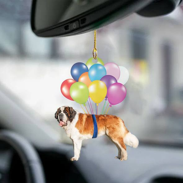 Saint Bernard fly with bubbles dog hanging ornament
