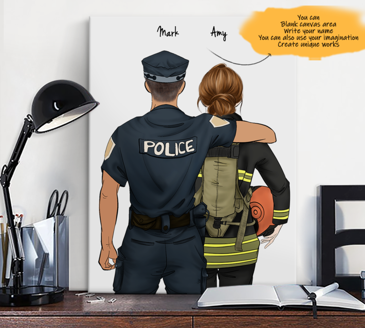 He is My Friend! Hand Draw Custom Canvas-Print Gift Police-Tan&Firefighter
