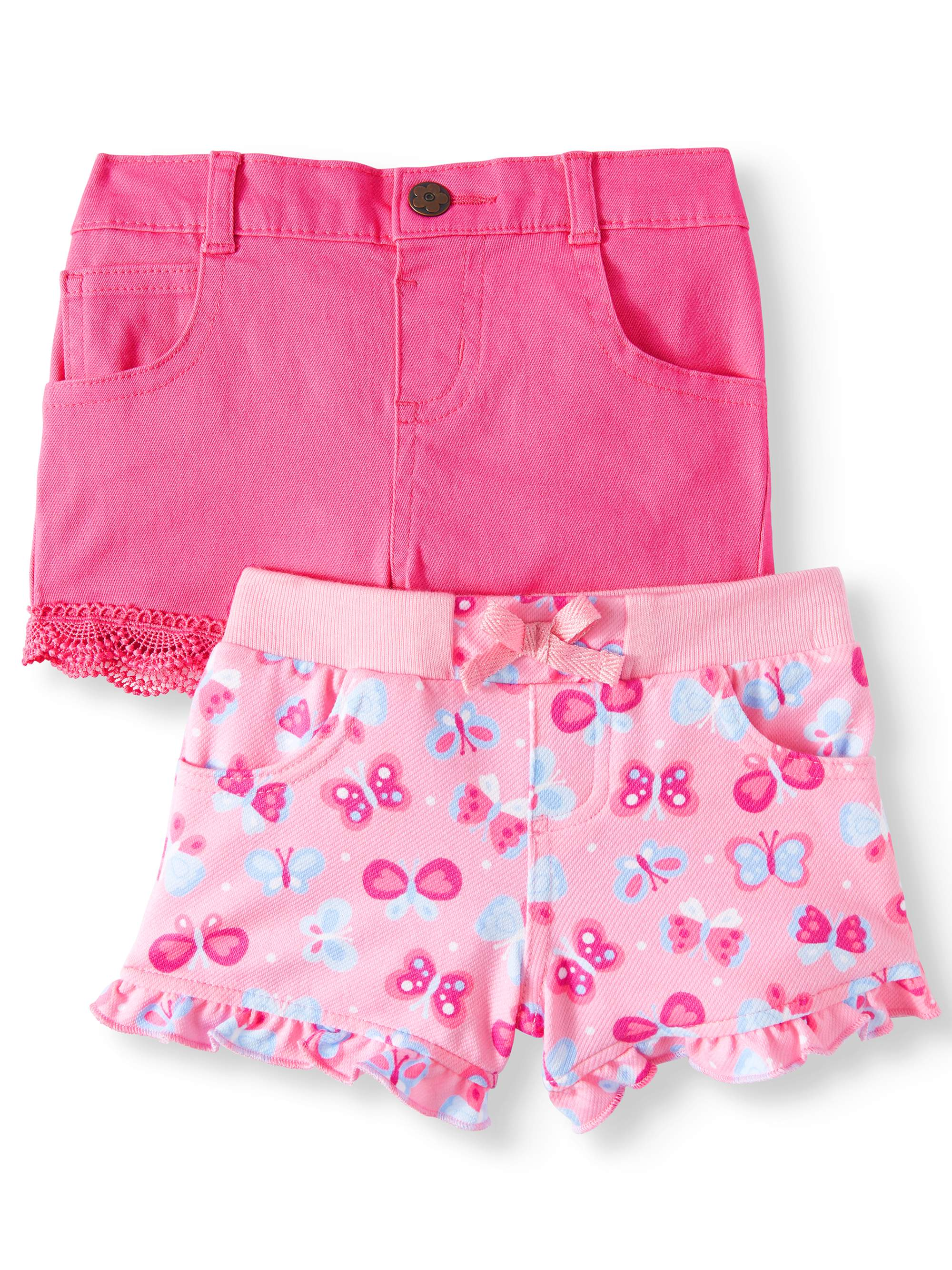 Garanimals Baby Girl Print Knit Denim and Twill or Denim Shorts, 2-Piece Multi-Pack