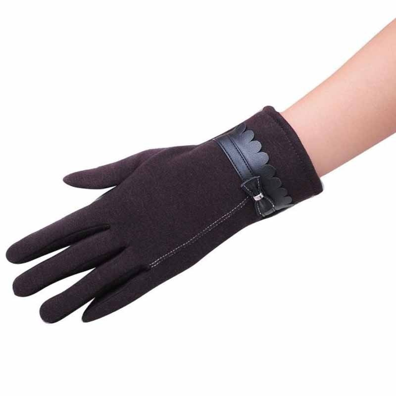 1Pair Fashion women's bow winter warm gloves touch screen mittens  Opperr