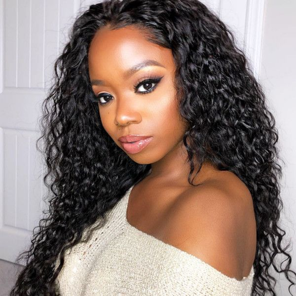 Curly Wigs Lace Front Curly Hair Black Hair Synthetic Hair 12 Inch Deep Wave Wig 3 Bundles Of Brazilian Hair For $50 Unicorn Hair Wig