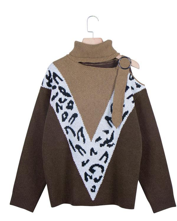 New Sexy Strap Off-shoulder Leopard Print Stitching Sweater For Women