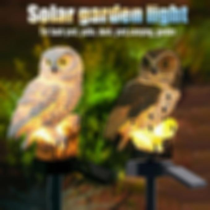 50% OFF>>Highpot Owl Shape Solar Powered LED Lamp Outdoor(Brown+White)