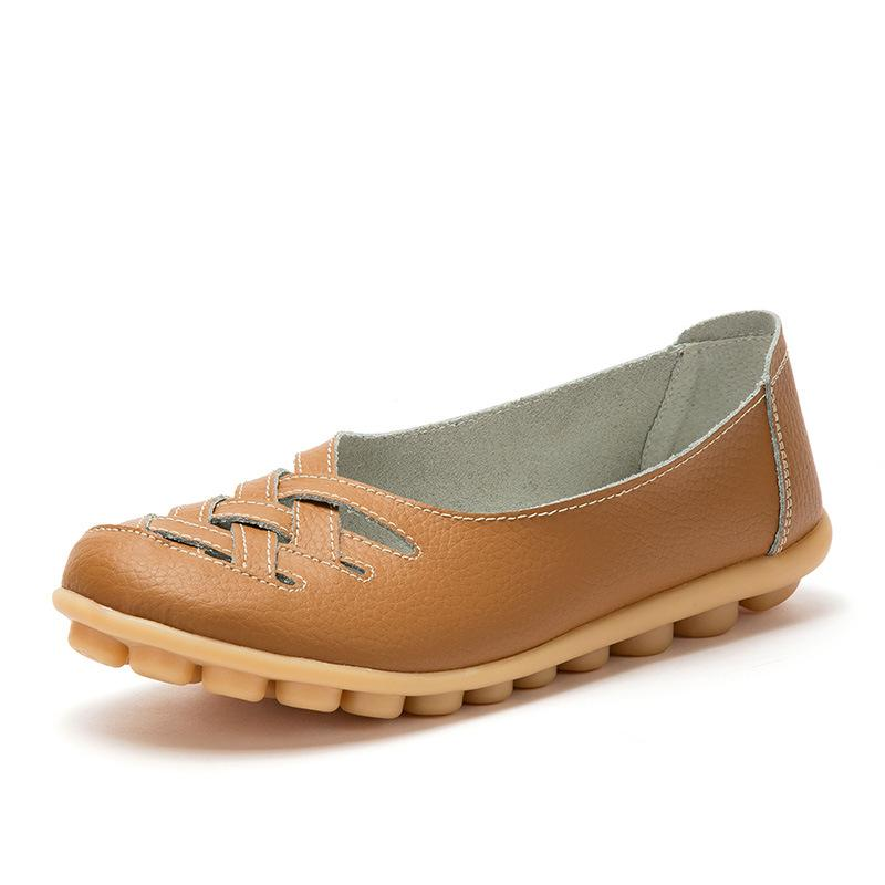 Leather hollow women's peas shoes