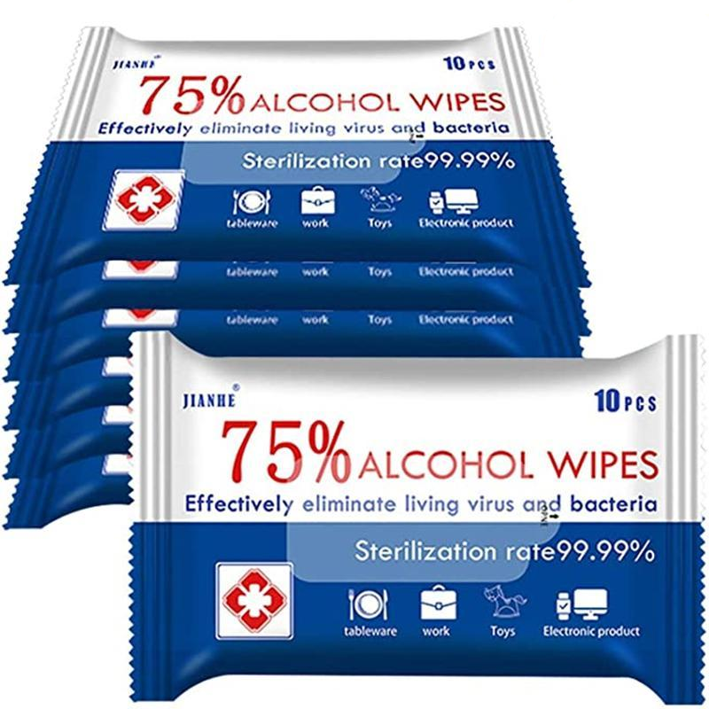 (20 PACKS 200 WIPES) 75% ALCOHOL ANTIBACTERIAL DISINFECTANT WIPES