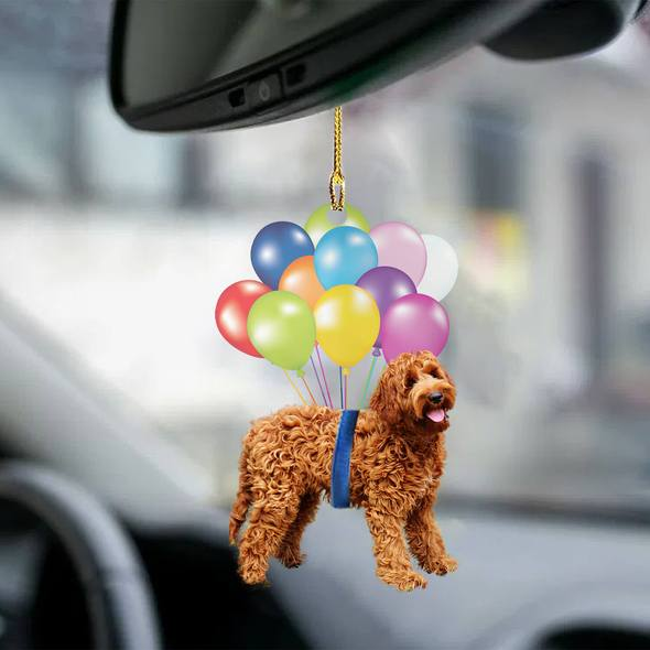 Labradoodle fly with bubbles dog hanging ornament