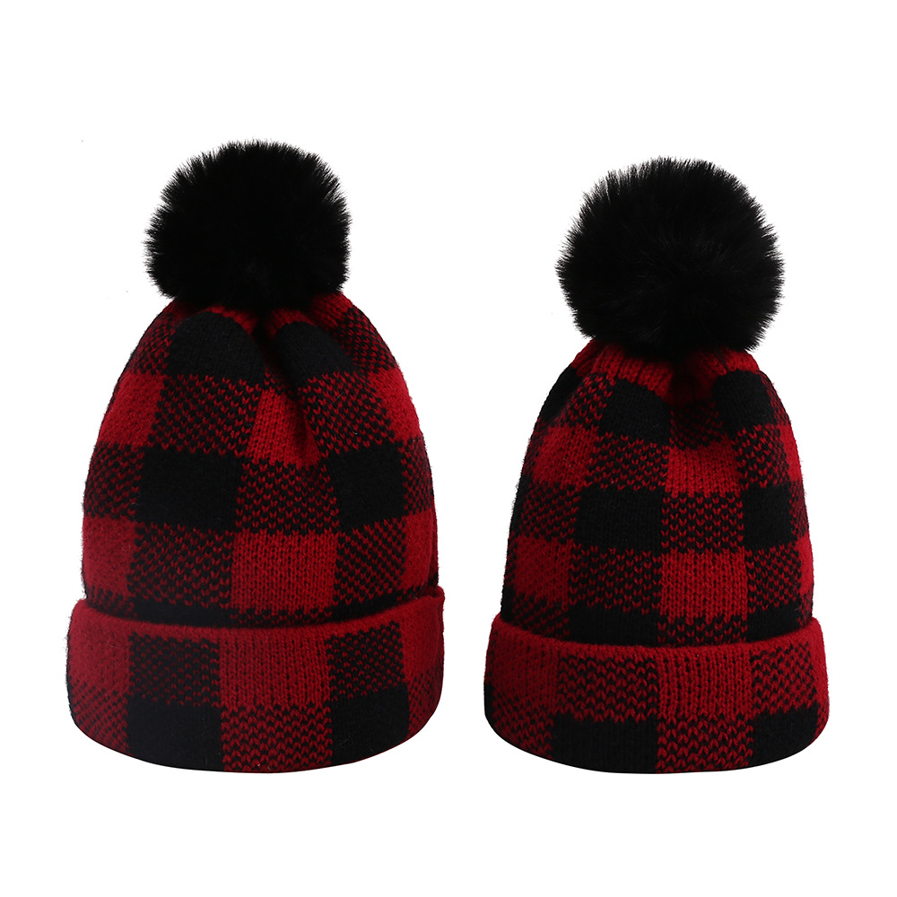 Winter wool ball parent-child knitted hat Christmas parent-child warm hat