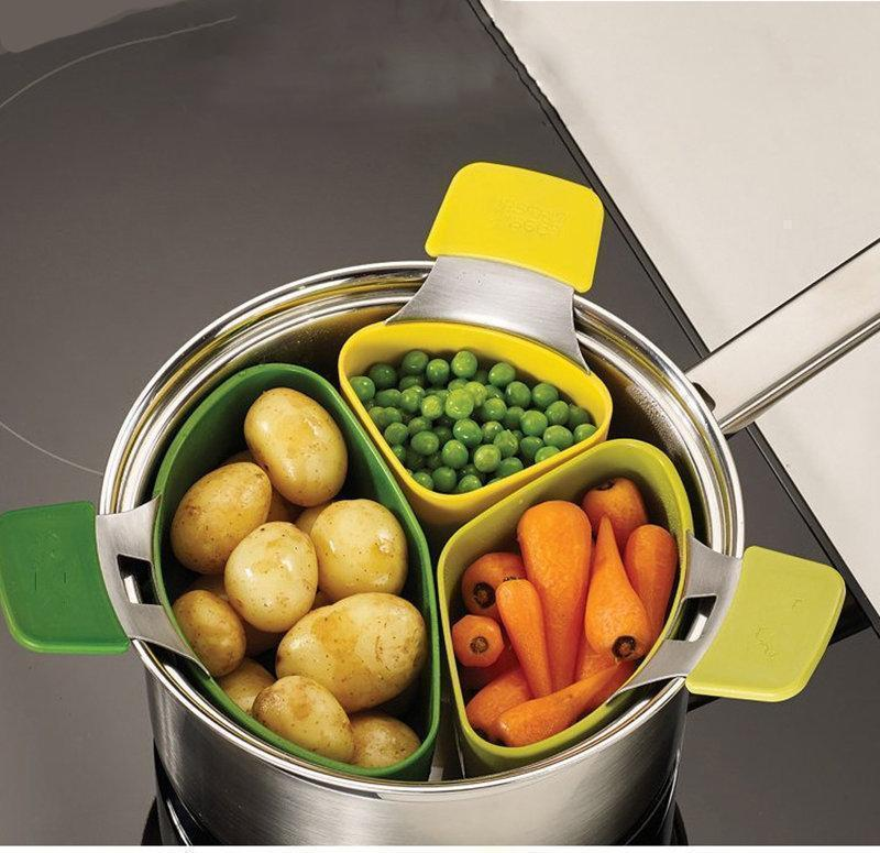 Creative Cooking Basket Three-piece Small Steamer Steamed