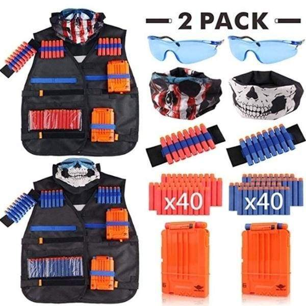 2 Packs Nerf Guns N-Strike Elite Series Kids Tactical Vest Kit Tactical Vest Jacket 2 Wrist Bands 2 Quick Reload Clips 2 Protective Glasses 2 Face Mask 80 Bullets