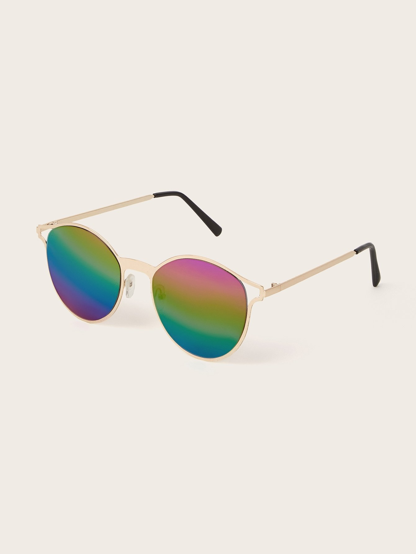 Metal Frame Ombre Lens Sunglasses With Case