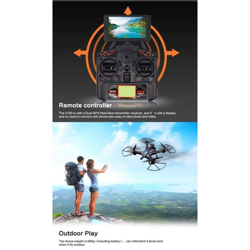 Global Drone X183 With 5GHz WiFi FPV 1080P Camera GPS Brushless Quadcopter BK Propeller