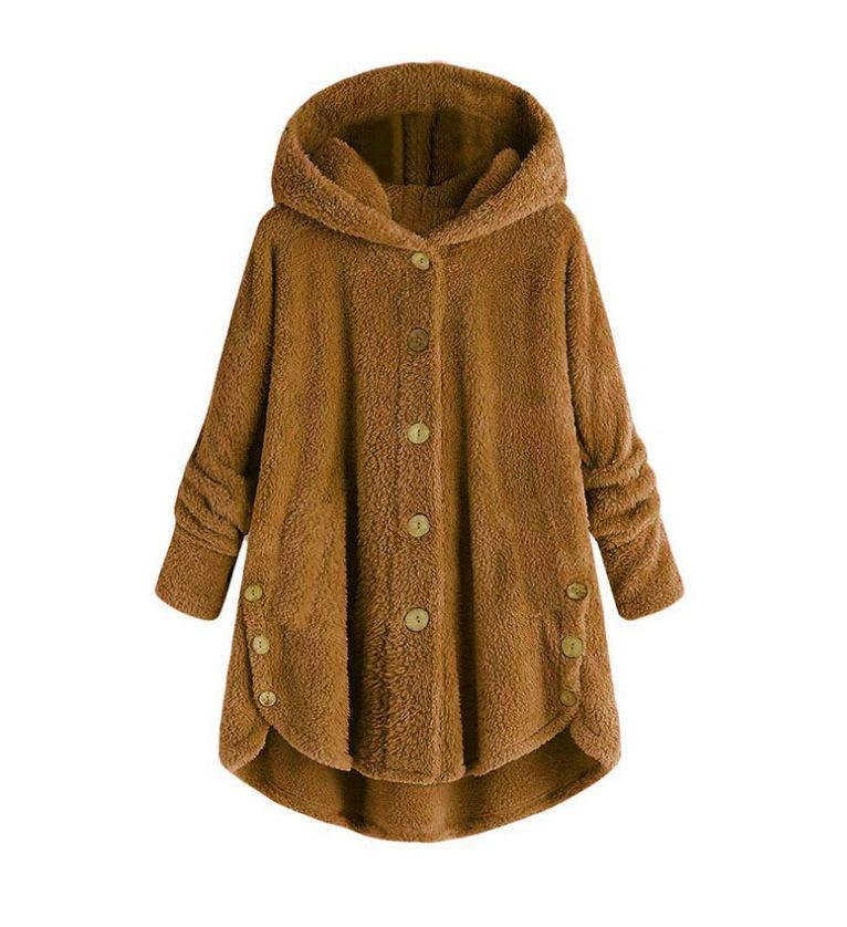 Irregular solid color plush jacket with buttons and hood