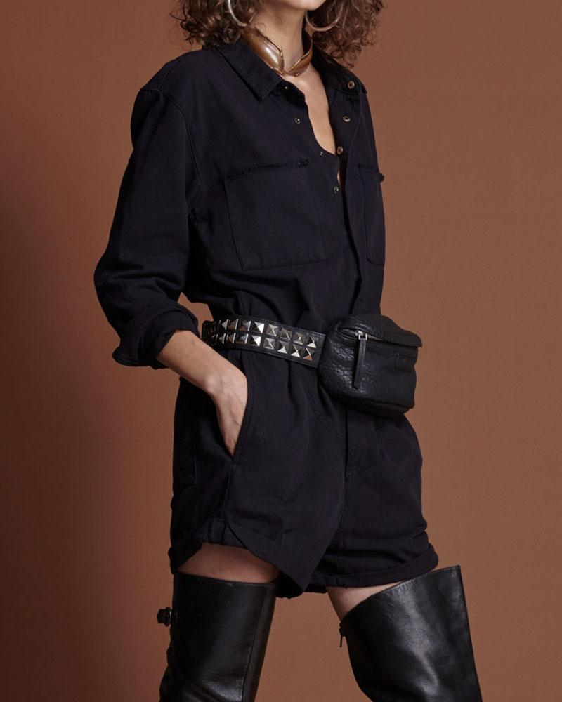 Casual Shirt Collar Long Sleeve Solid Rompers