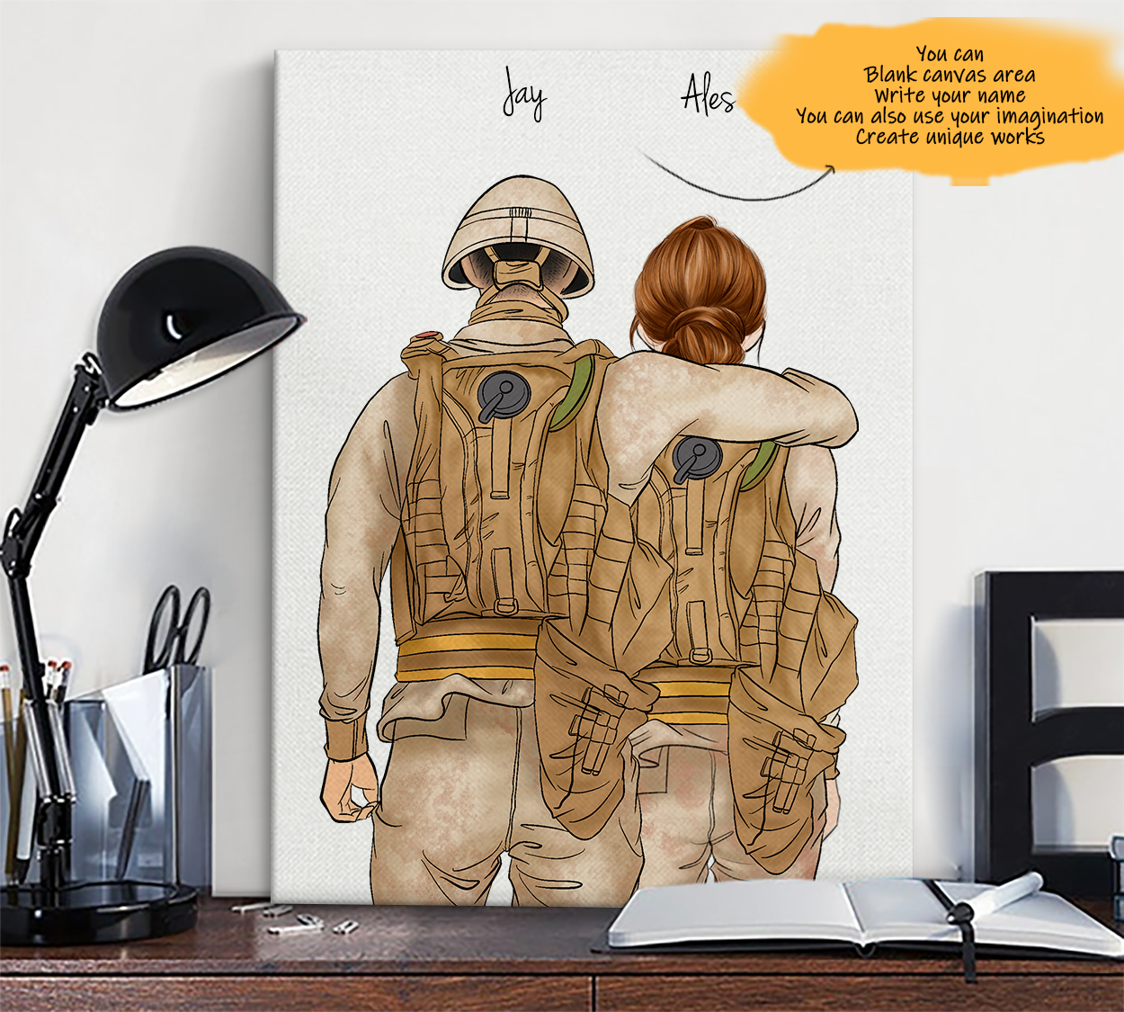 He is My Friend! Hand Draw Custom Canvas-Print Gift Soldier-Light&Soldier1