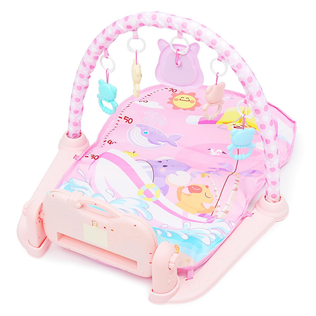 3 In 1 Baby Infant Gym Play Mat Fitness Music Piano Pedal Educational Toys USB Baby Play Mat  - Pink