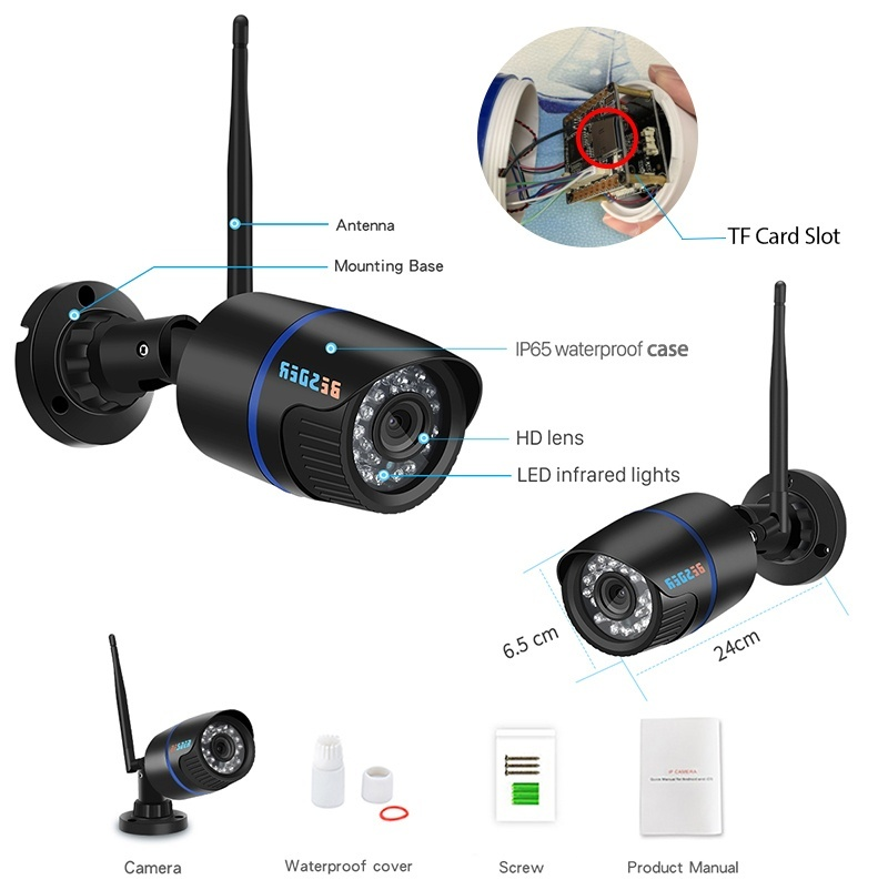 1080P 720P Outdoor Wifi CCTV IP Camera Surveillance 24 PCS IR LED Excellent Night Vision Onvif Bullet Wireless Home Security IP Camera Support TF Card Recording