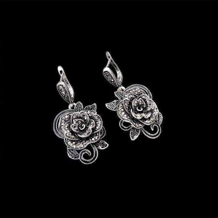 Antique Silver Plated Jewellery New Fashion Vintage Black Crystal Flower Pendant Necklace Set Women Jewelry Sets