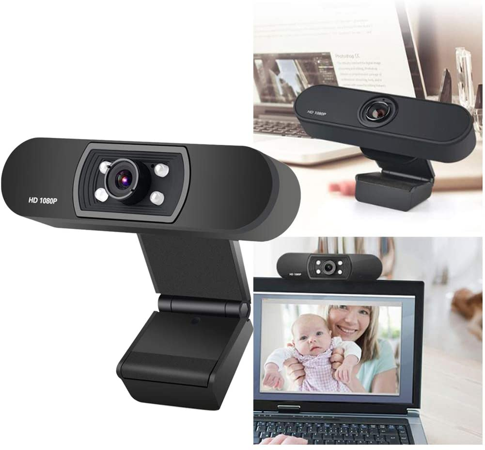 1080p/30fps HD Webcam, PC USB Video Web Camera Cam Live Streaming Webcam with Microphone for Desktop Laptop Standing and Clip-on