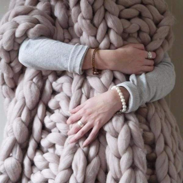 warm knitted blanket wool thick yarn acrylic block knitted blanket knitted jacquard