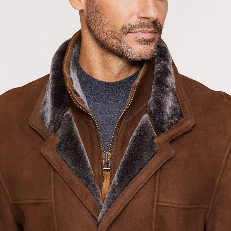 Highlands Cappuccino Spanish Merino Shearling Sheepskin Coat