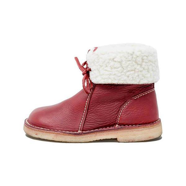 Trendymap Women Winter Vintage Boots Warm Unisex Lace-up Shoes