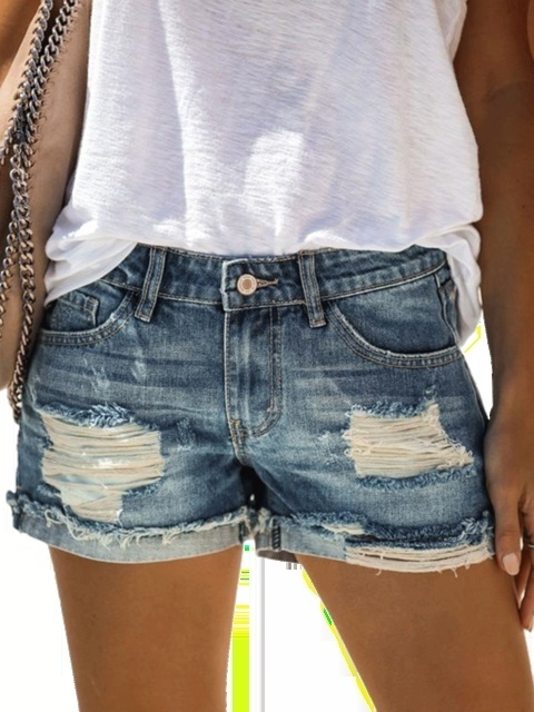 New Summer Women's Fashion High Waist Denim Shorts Vintahe Hole Short Jeans Ripped Casual Short Pants XS-5XL