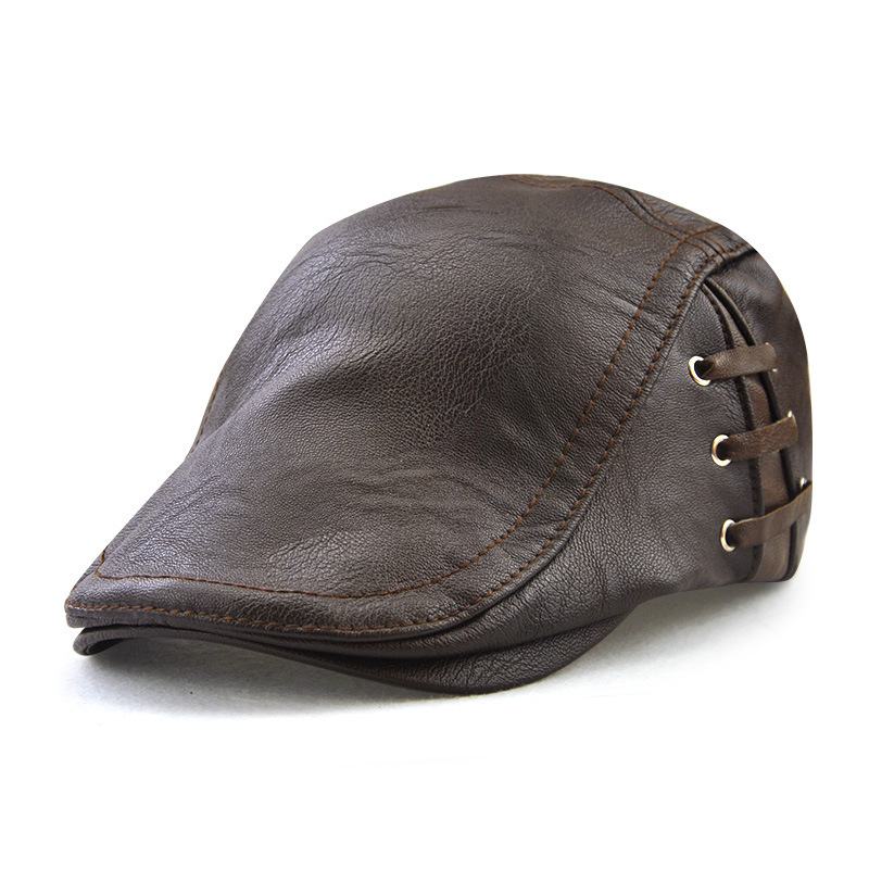 Men's Leather Beret Perforated Strap Design